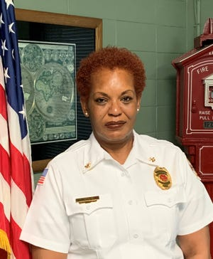 Chief Antoinette Gerald, who was promoted to take over the communications division as the Lafayette Fire Department's first woman division chief.