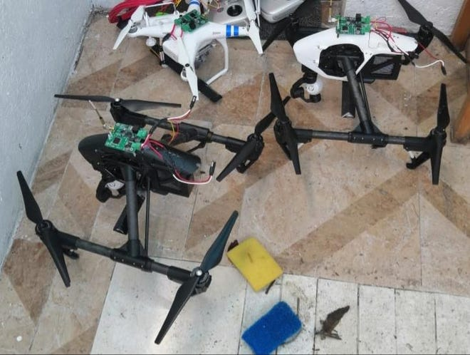 Drones are used by Mexican drug cartels to further their aims. These drones are from a seizure by the Attorney General of Mexico in Puebla in 2020.