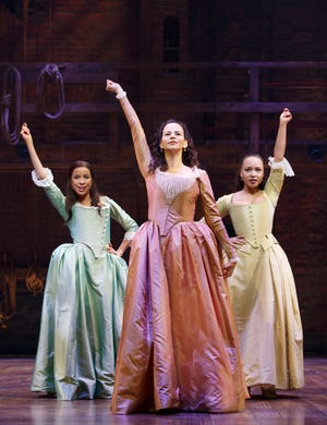 """Breast cancer survivor Mandy Gonzalez, center, seen here in """"Hamilton,"""" is doing a benefit performance Thursday for Milwaukee-based group After Breast Cancer Diagnosis."""