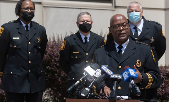 Milwaukee County Sheriff Earnell Lucas speaks during a news conference Monday outside the Milwaukee County Jail, 949 N. 9th St. in Milwaukee. He announced that the jail is now accredited by the National Commission on Correctional Health Care.