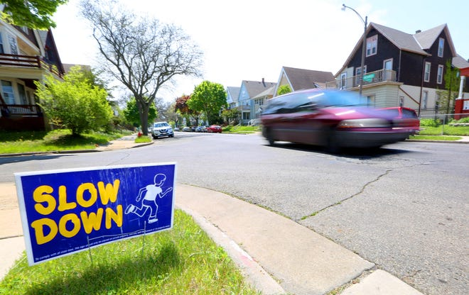 A motorist heads down North Richards Street near East Auer Avenue in Milwaukee on Monday, May 17, 2021. Efforts are underway to install a speed hump nearby where a group home is located at 3179 N Richards St.