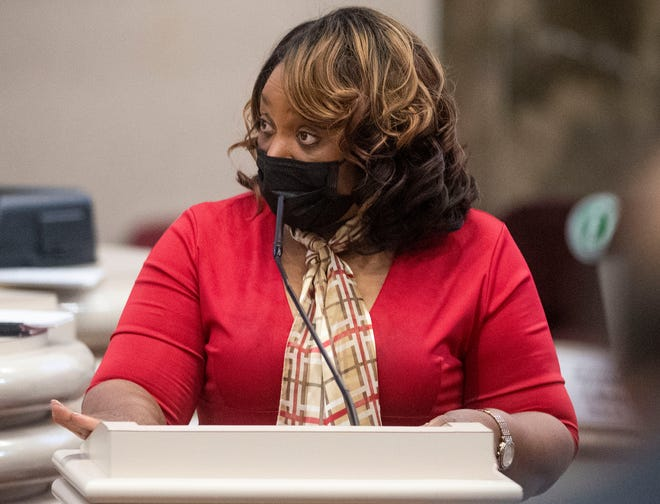Rep. Merika Coleman on the final day of the regular legislatives session at the Alabama Statehouse in Montgomery, Ala., on Monday May 17, 2021.