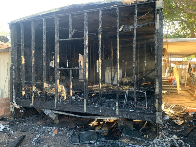 Fire damaged a mobile home at 230 Three Crosses Avenue Saturday evening, injuring the occupant.