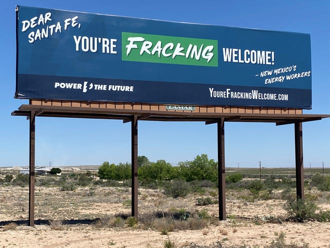 A billboard on U.S. Highway 285 posted by Power the Future indicates a disconnection between oil and gas workers in New Mexico and State leaders, May 17, 2021 north of Carlsbad.