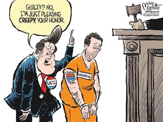 Marlette cartoon: Greenberg pleads guilty as Gaetz denies all wrong
