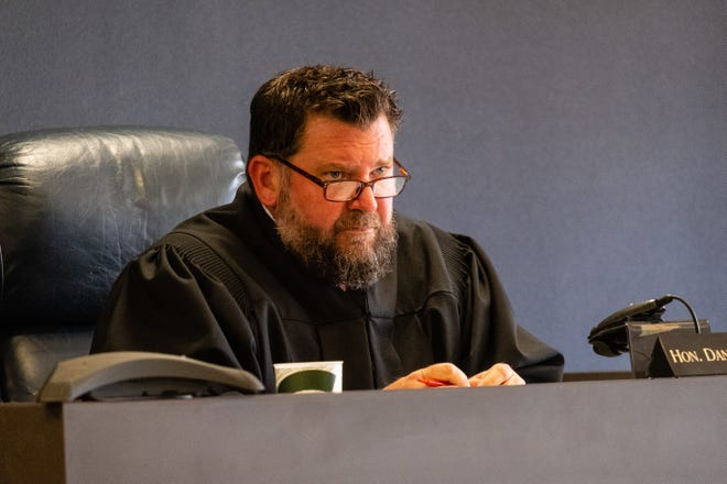 St. Clair County Circuit Court Judge Daniel Damman presides over a plea hearing for Ricardo Galan II Monday, May 17, 2021, in the St. Clair County Courthouse in Port Huron. Galan is facing multiple charges for allegedly shooting another man in Algonac in November 2019.