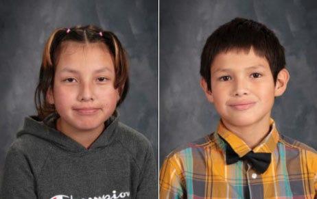 Zuey DeLeon, 13, left, and Brayden DeLeon