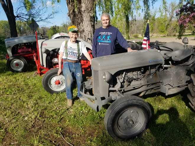 Bill Rupnow, 90, left, and his son-in-law Tom Heinsch are eager to exhibit Rupnow's collector tractors at the Ixonia Vintage Tractor Expo's Memorial Day weekend show at the Ashippun Firemen's Park May 29 and 30. Rupnow has not missed a meeting of the club since it started 12 years ago and he eagerly takes part in all of the club's shows and events.