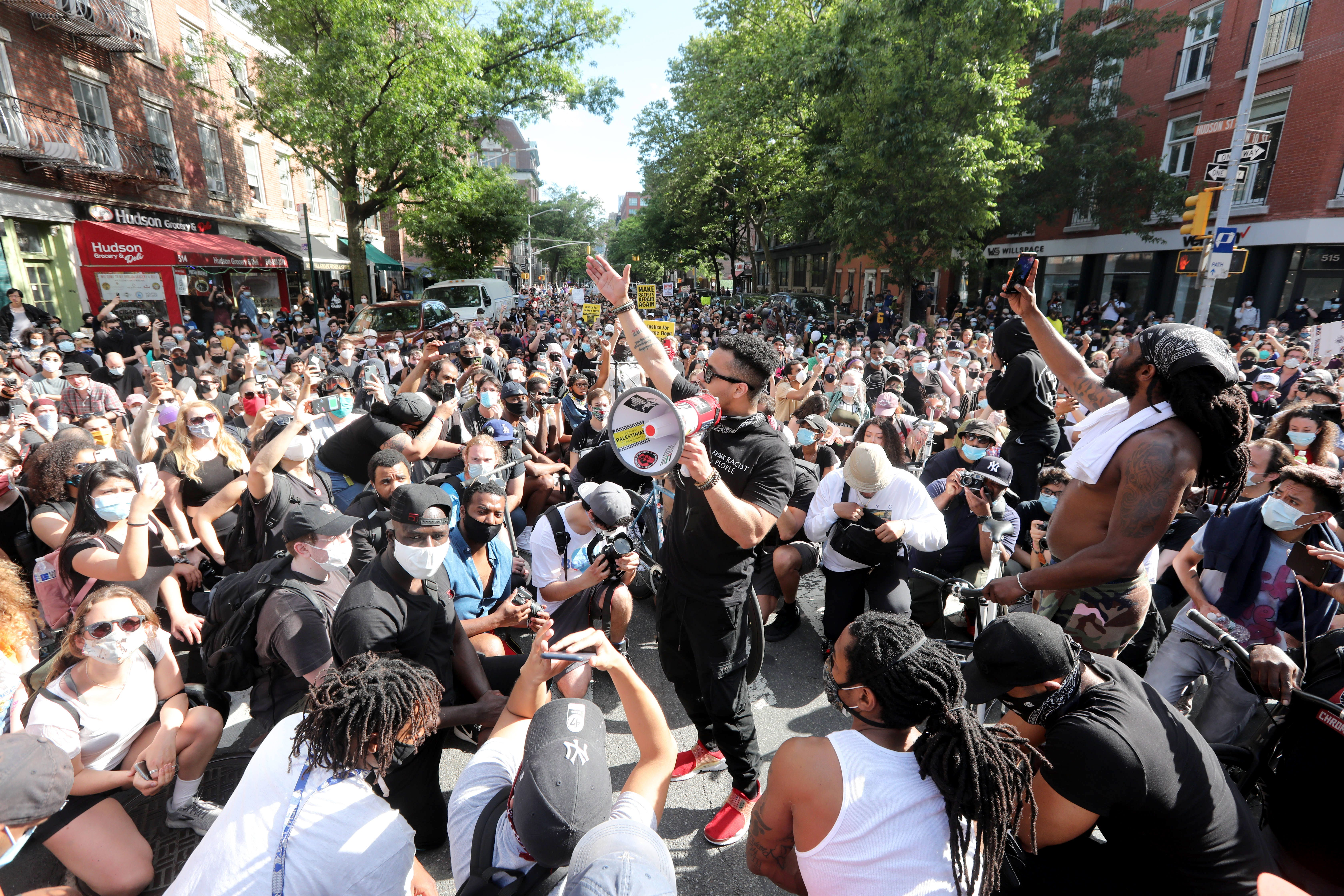 Several thousand protestors marched through Manhattan May 30, 2020 to protest the death of George Floyd in Minneapolis earlier in the week. The march stopped at several points, including in Greenwich Village to rally supporters.
