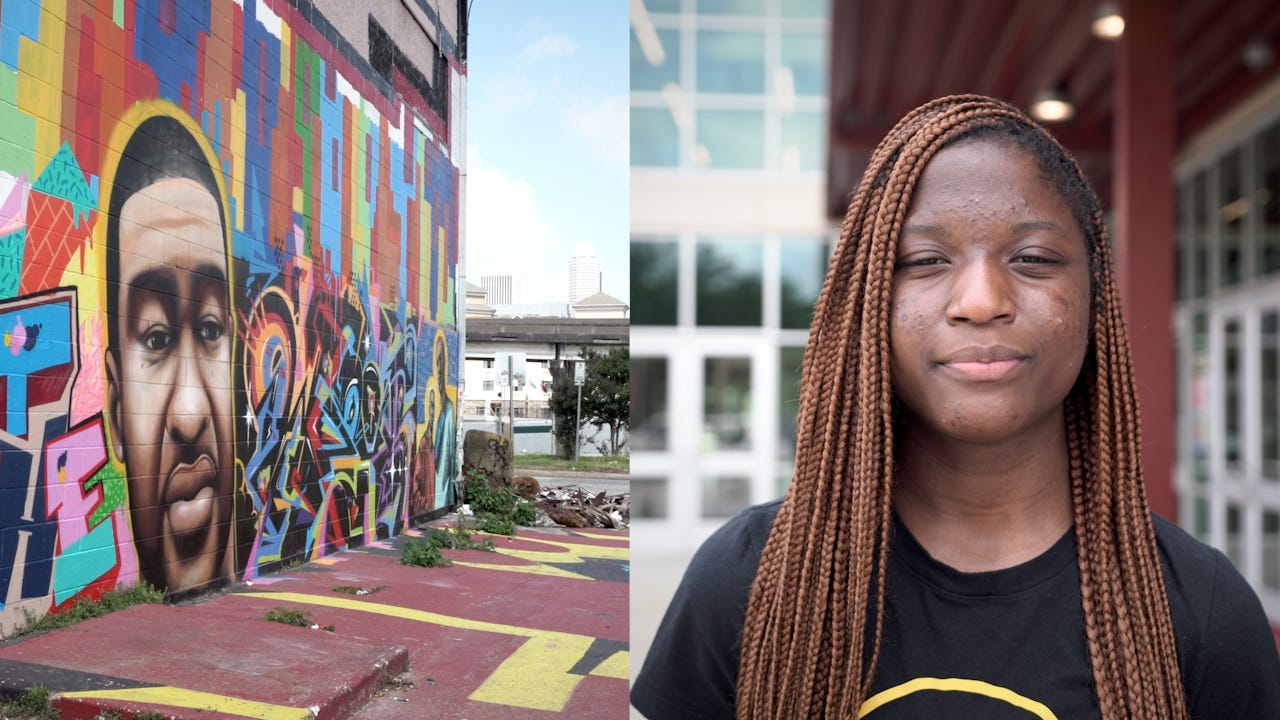 A video diptych shows Brooke Williams (right) and a mural of her uncle, George Floyd.