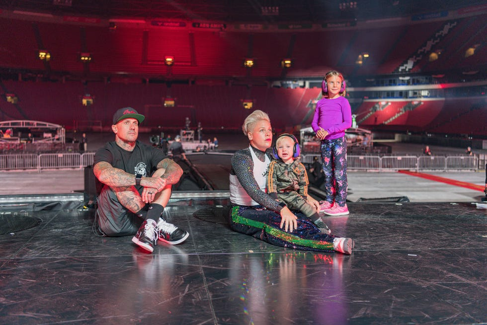 """Carey Hart, left, Pink, Jameson and Willow in a scene from """"Pink: All I Know So Far."""""""