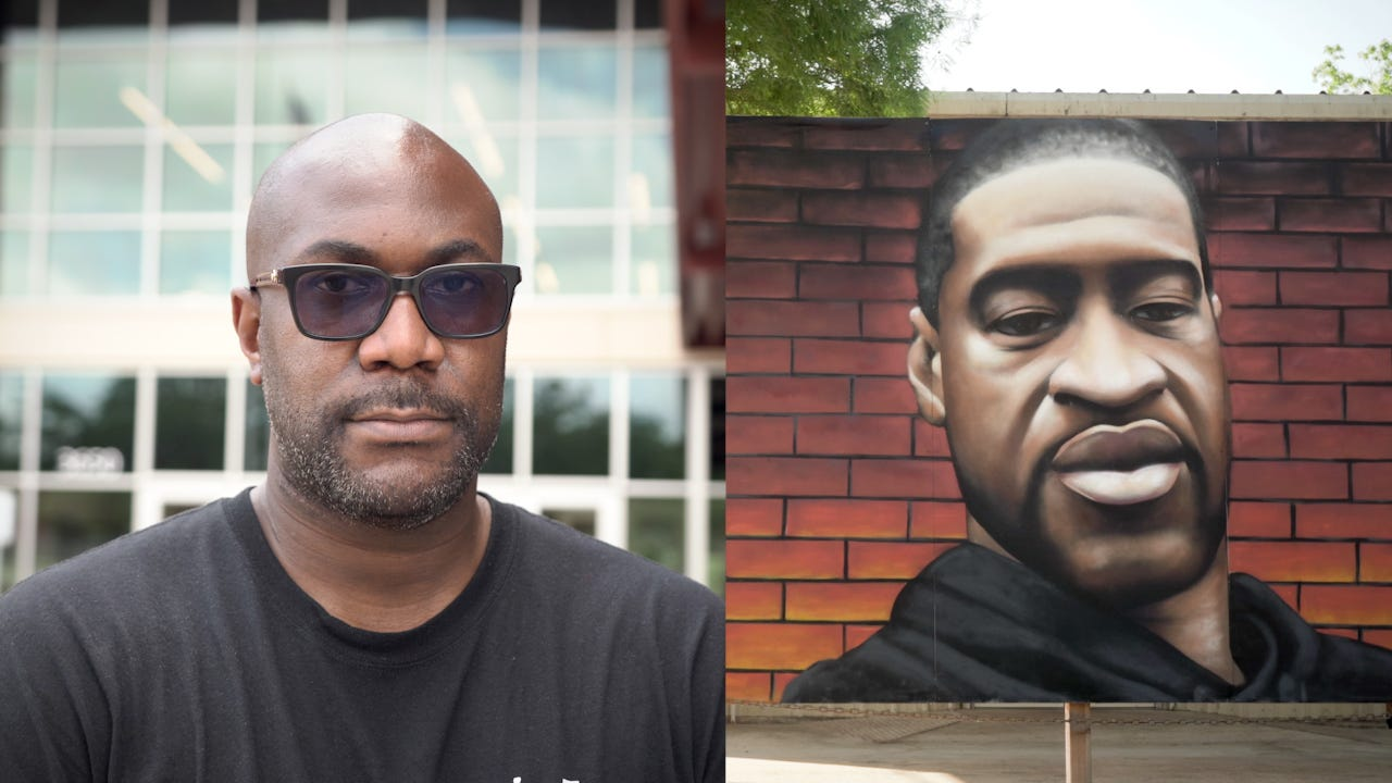 A video diptych shows Philonise Floyd (left) and a mural of his brother, George Floyd.