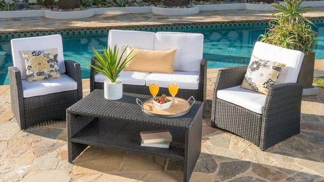 Christopher Knight Home's four-piece wicker seating set is a favorite of Overstock customers for being both easy-to-assemble and comfortable.
