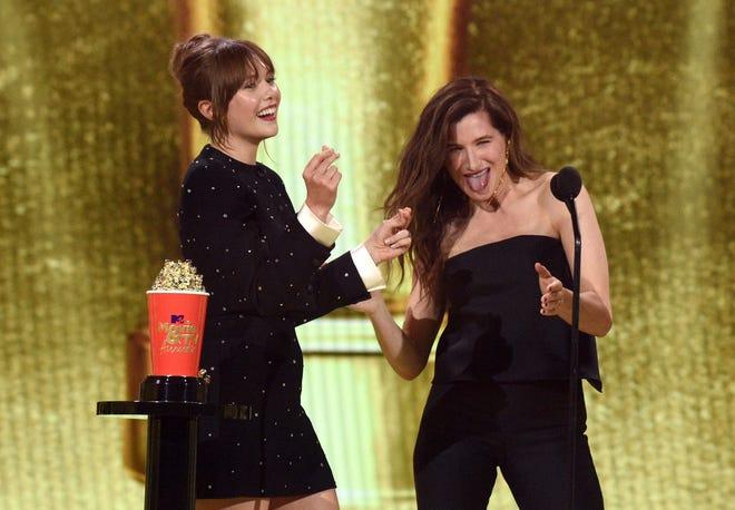 Elizabeth Olsen, left,  and Kathryn Hahn accept the Best Show award for 'WandaVision'.