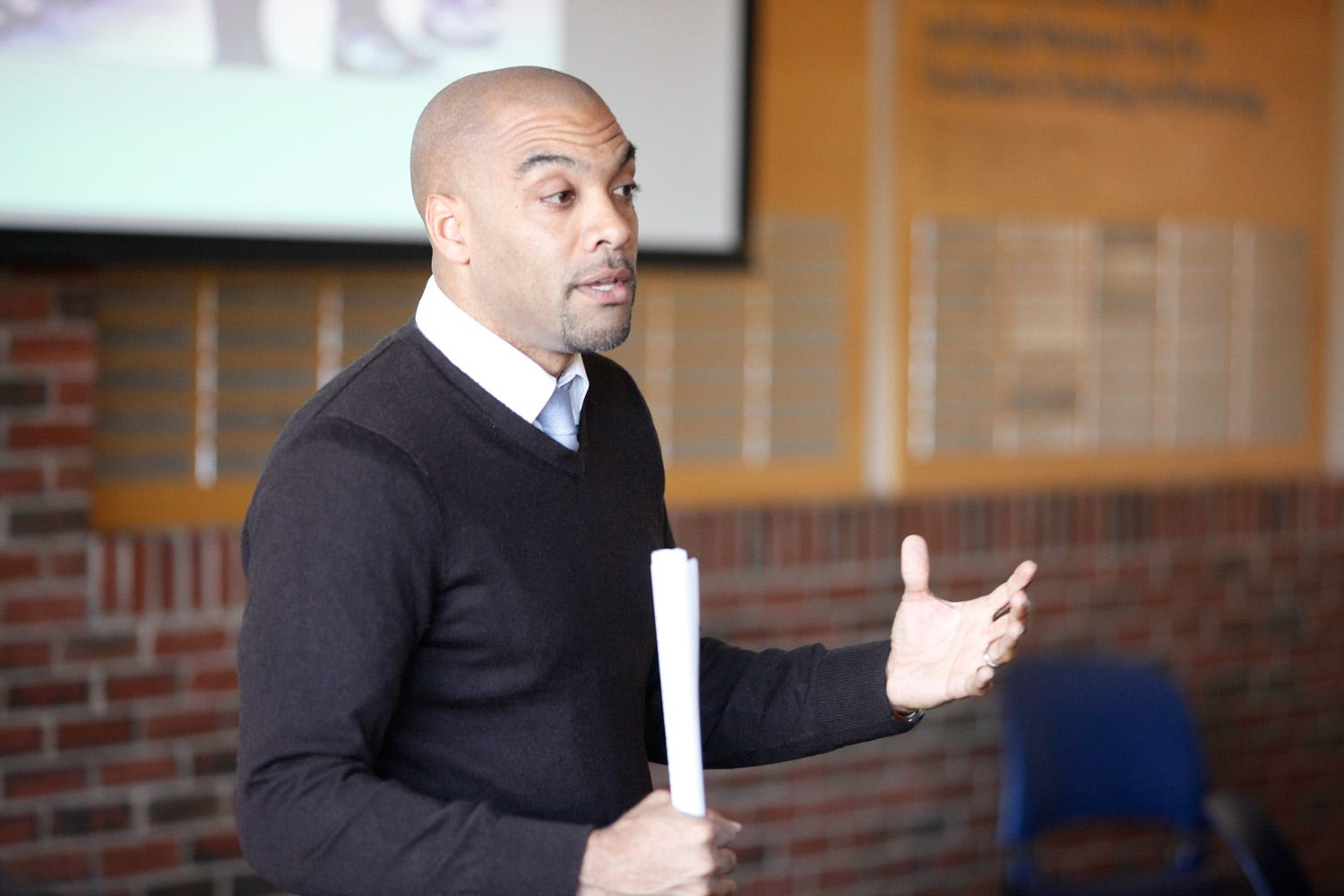 Chad Williams, chair of the African American Studies Department at Brandeis University in Massachusetts, gives a lecture. Williams is one of the scholars behind the Charleston Syllabus, which he said followed in the footsteps of the work of other Black scholars