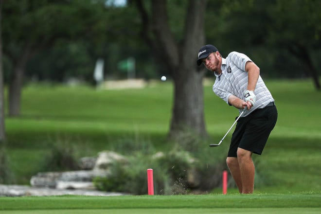 Canyon Randall golfer Caden Conrad competes in round two of the class 5A State Championship golf tournament at the White Wing Golf Club in Georgetown, Texas on May 18, 2021.