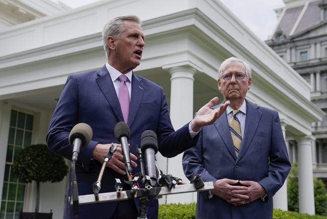 Senate Minority Leader Mitch McConnell of Ky., and House Minority Leader Kevin McCarthy of Calif., speak to reporters outside the White House after a meeting with President Joe Biden, Wednesday, May 12, 2021, in Washington. (AP Photo/Evan Vucci)