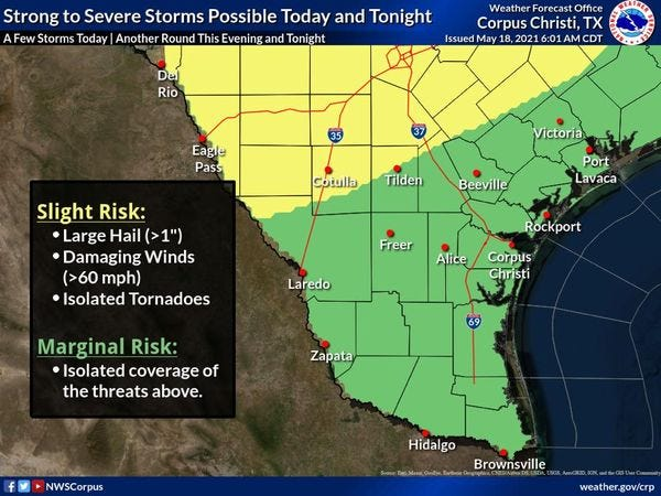 Strong Weather Storms possible through the week for South Texas.