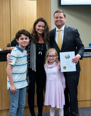 Anna Mayor Nate Pike was joined by his wife Lacey and their children Peyton and Addison during the May 11 City Council meeting.He and councilman Kevin Toten were both officially sworn in after recently being re-elected.