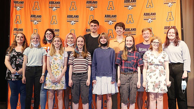 Ashland High School seniors who plan to study fine arts in college, from left, are Paige Hamilton, Emilie Lemon, Kaylyn Kopp, Jessica Cahill, Nelia Alvarez, Lydia Boyer, Adrian Eidsmoe, Livia Sponsler, Avery Brown, Naomi Boyer, Grant Vance, Grace Zeigler and Anna Oellerich. Not pictured are Maiyah Lewis and Olivia Shores.