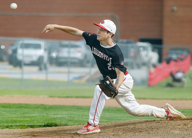 Loudonville High School's Jason Potter (23) pitches during the Div. III sectional semifinal game against Oberlin High School Monday, May 17, 2021.