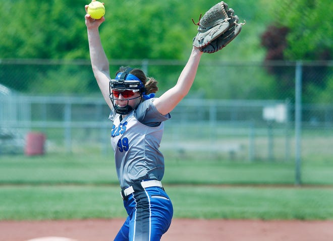 Northwestern's Audrey Franks (99) lets loose a pitch during the Div. III district semifinal against Independence High School at Wellington Community Park on Tuesday, May 18, 2021.