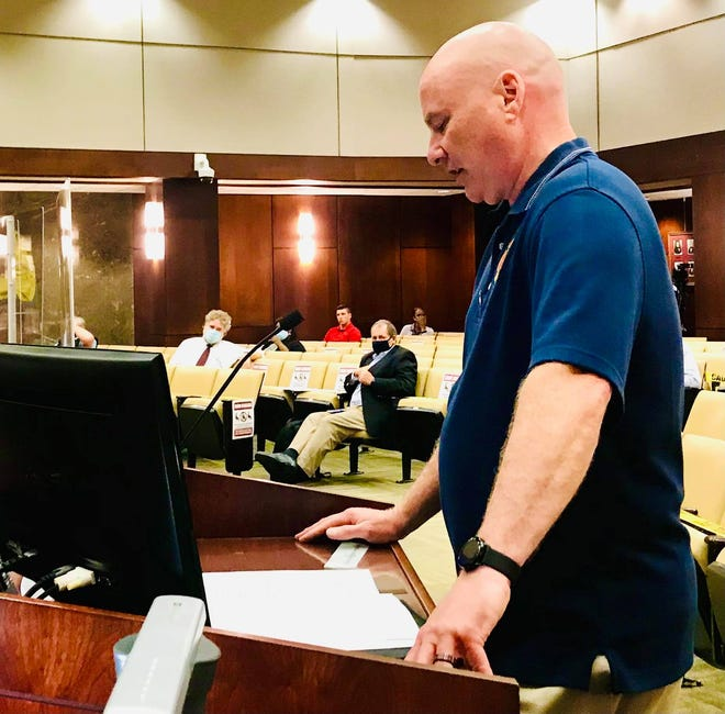 """Augusta Fire Capt. Daniel Steele speaks on behalf of the Augusta Professional Firefighters Association about the city's search for a new fire chief. """"We believe that the best candidate has not been selected,"""" he said."""