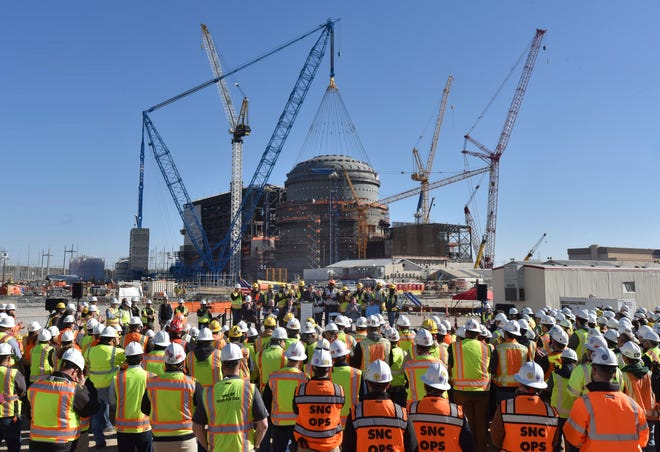 A March 2019 photo shows U.S. Secretary of Energy Rick Perry speaking during a press event at the construction site of Vogtle Units 3 and 4 in Waynesboro. Georgia Power Co. told regulators Tuesday that the first new reactor at the power plant isn't expected to be complete until January 2022 at the earliest because of delays in testing.