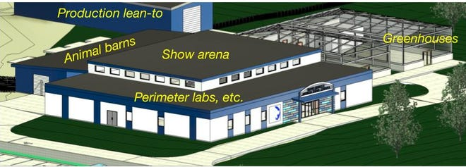 A rendering of the proposed Bartlesville Public Schools Agricultural Center.