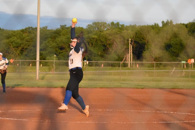 Bluestem's Raegan Pirtle threw a no-hitter in the 13-0 win over South Lyon County on Monday at Bluestem High.