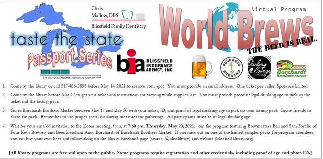"""Details of the Schultz-Holmes Memorial Library's upcoming """"Taste the State"""" virtual program are pictured. """"Passport Series: World Brews"""" will begin at 7:30 p.m. Thursday, May 20."""