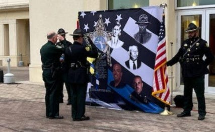 Flagler County Sheriff Rick Staly and the Sheriff's Office Honor Guard pays tribute to Flagler's fallen law enforcement officers.
