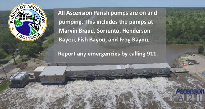 Ascension Parish pumps are on and drainage employees are on alert.