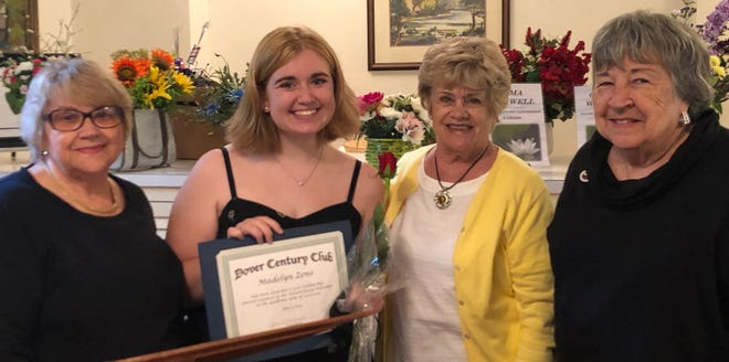 The Dover Century Club awarded a college scholarship to Dover High School senior Madelyn Zeno. From left: Marge Locke, DCC Scholarship Committee member; Madelyn Zeno, DCC scholarship recipient; Cecilia Knapp, DCC Education Committee chair; and Jane DiMondi, DCC president. Not pictured, Vicky Cairns, DCC Scholarship Committee chair