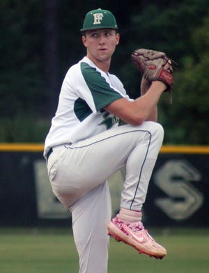 Fleming Island pitcher Cody Carwile prepares to deliver a pitch during an FHSAA Region 1-6A baseball semifinal against Creekside on May 12, 2021. [Clayton Freeman/Florida Times-Union]