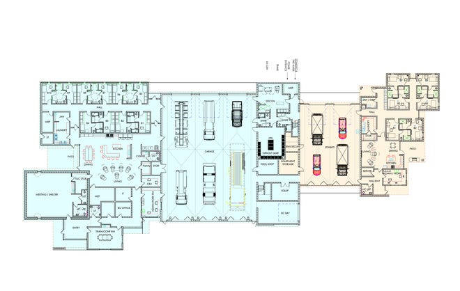 A floor plan for a 6,900 sq. ft. option for the joint Fire/EMS building, to be located at  Jennie Barker Road and Schulman Avenue, was presented at the Finney County Commission meeting Monday.