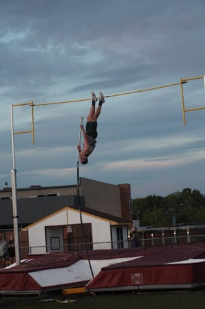 Geneseo's Malakai Schaad vaulted a personal best 4.57m (15 ft.) to win the event at the meet