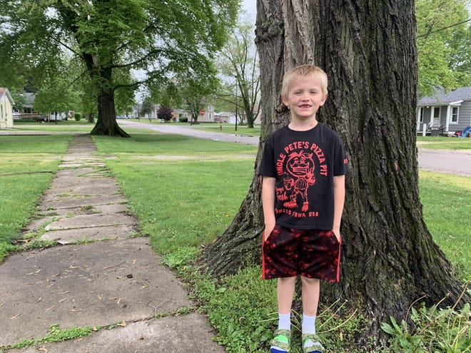 Neiko O'Neal, 7, of Abingdon, was hit by a vehicle on his bike last week and thrown 40 feet. He says his accident is a reminder for kids to wear bike helmets.