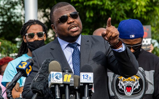 Attorney Harry Daniels speaks during a press conference outside the Pasqoutank County Public Safety building in Elizabeth City May 11, 2021, after family of Andrew Brown Jr. viewed about 20 minutes of video from the police shooting death of Brown in April. (Travis Long/The News & Observer via AP)