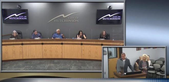 Hutch Rec Director Tony Finlay talks to the Hutchinson City Council on Tuesday about a plan to gather public input through at least five dozen small community meetings in July on recommendations for how the city and county should spend American Rescue Plan dollars.
