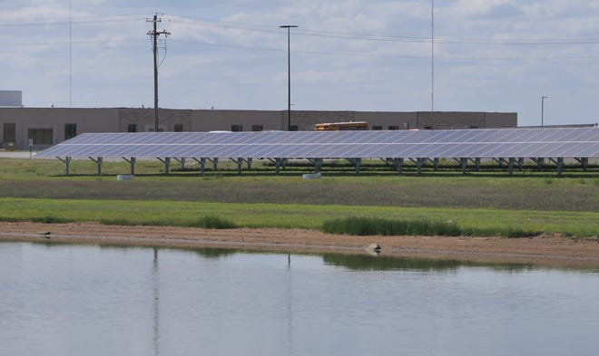 Maize School District' solar panels provide energy to the high school's career center.
