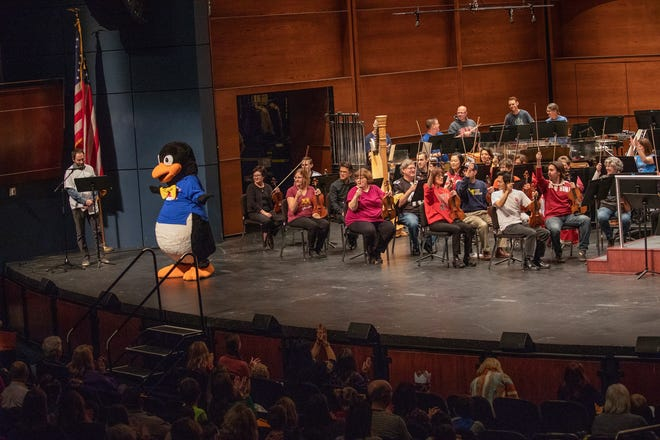 """Phil the Penguin, the Oklahoma City Philharmonic's mascot, makes an appearance at a Discovery Family Concert. He is expected to appear at the orchestra's May 23 matinee of """"Peter and the Wolf"""" at the Oklahoma City Zoo Amphitheatre."""