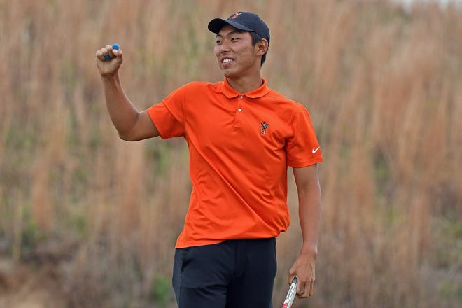 Bo Jin shot a 68 on Tuesday to help Oklahoma State win its NCAA Golf Regional at Karsten Creek in Stillwater.