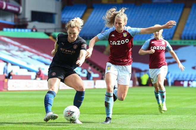 Sam Mewis of Manchester City, left, in action during the FA Women's Super League match between Aston Villa and Manchester City at Villa Park on Sept. 5, 2020 in Birmingham, England.