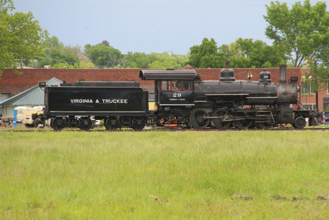 This locomotive was added to movie set developments last week in Pawhuska, as crews prepared a lot south of Allen Brothers to look like a 1920s Fairfax, Oklahoma train depot.