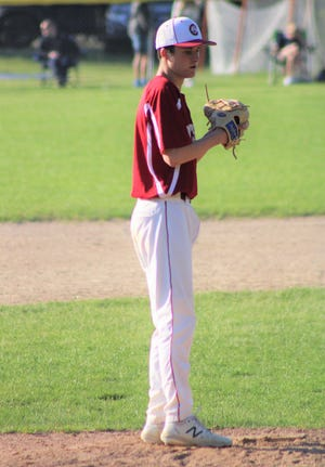 Portsmouth High School sophomore Boden Driscollallowed four hits, two earned runs, walked a batter and struck out two in his five innings of relief in Monday's 10-7 win over Winnacunnet.