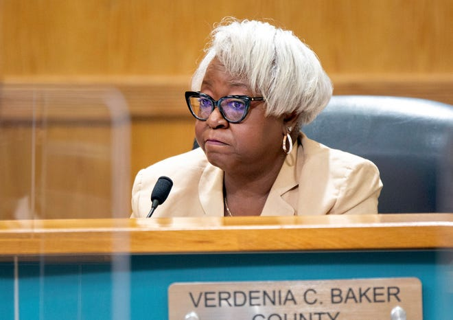 Verdenia C. Baker, county administrator, answers a question during the County Commission meeting in West Palm Beach Tuesday, May 18, 2021.