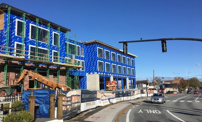 Hammetts Hotel under construction on America's Cup Boulevard in Newport in 2019. Construction has been a bright spot for jobs, but hospitality employment has lagged as Rhode Island recovers from the pandemic.
