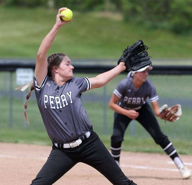 Missy Holzopfel of Perry delivers a pitch during their Division I district semifinal against Hudson at Massillon on Monday, May 17, 2021.