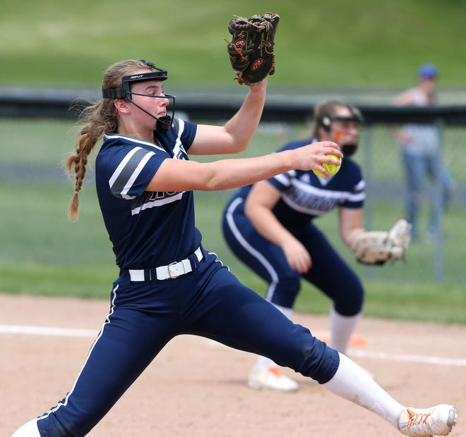 Maddie Roukey of Hudson delivers a pitch during their Division I district semifinal against Perry at Massillon on Monday, May 17, 2021.